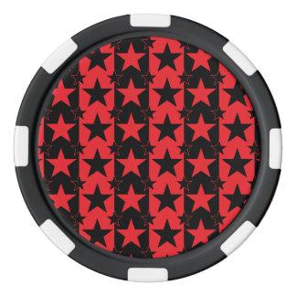 Rojo del modelo de barras y estrellas 2 fichas de póquer