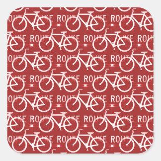 Rojo del modelo del ciclista de la bicicleta de pegatina cuadrada