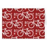 Rojo del modelo del ciclista de la bicicleta de felicitaciones