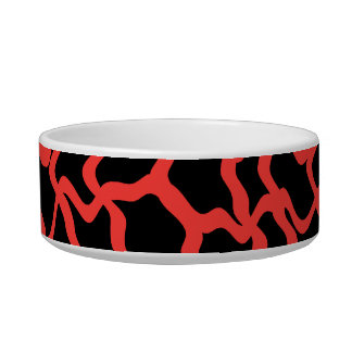 Rojo del modelo gráfico abstracto y negro brillant tazón para comida gato
