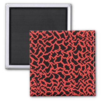 Rojo del modelo gráfico abstracto y negro brillant iman para frigorífico
