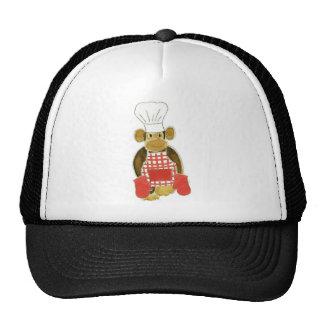 Rojo del mono del cocinero gorra