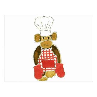 Rojo del mono del cocinero tarjetas postales