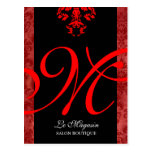 Rojo del monograma de 311 Marley Tarjetas Postales