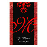 Rojo del monograma de 311 Marley Tarjeton