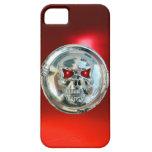 Rojo del MONOGRAMA de los JINETES del CRÁNEO iPhone 5 Protectores