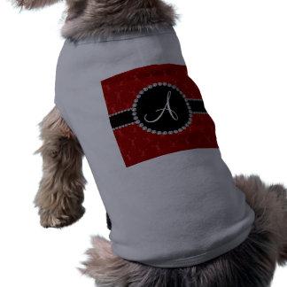 Rojo del monograma que anima el círculo negro playera sin mangas para perro
