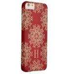 Rojo del monograma y medallón exótico del oro funda de iPhone 6 slim