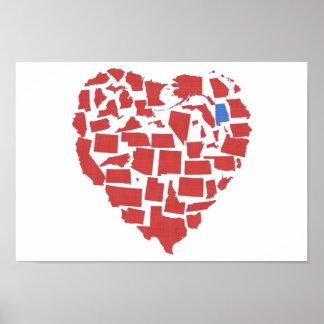 Rojo del mosaico del corazón de los estados póster