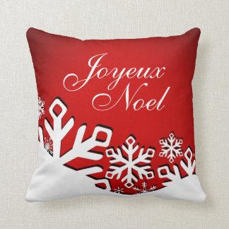 Rojo del navidad el | de Joyeux Noel de la ciudad Cojín