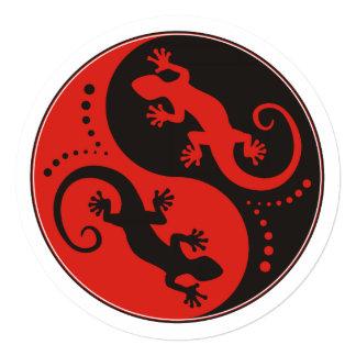 """Rojo del negro de los Geckos de YIN y de YANG + su Invitación 5.25"""" X 5.25"""""""