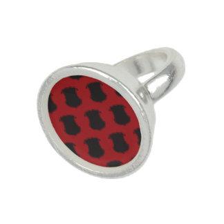 Rojo del negro del escudo del escudo anillo con foto