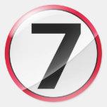 Rojo del número 7 pegatinas redondas