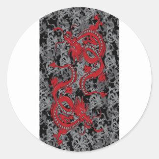 Rojo del oin del dragón de Ying Yang - Año Nuevo Pegatina Redonda