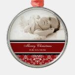 Rojo del ornamento de la mamá de las Felices Navid Ornamentos De Navidad