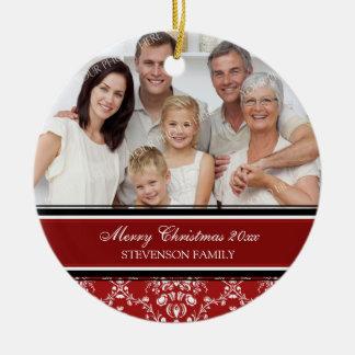 Rojo del ornamento de las Felices Navidad de la fo Ornamento Para Arbol De Navidad