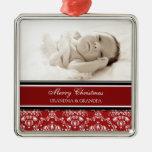 Rojo del ornamento de los abuelos de las Felices N Ornamentos De Navidad