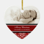 Rojo del ornamento de los abuelos de las Felices N Ornamento De Navidad