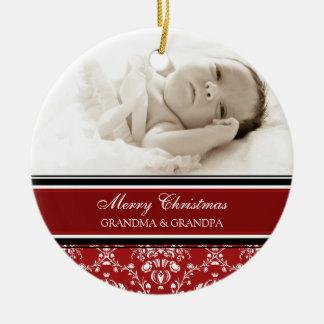Rojo del ornamento de los abuelos de las Felices N Adornos De Navidad