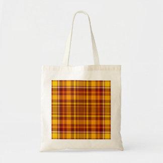 Rojo del otoño y modelo de la tela escocesa del or bolsas