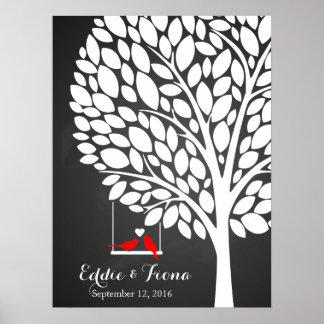 rojo del pájaro del árbol del libro de visitas del póster