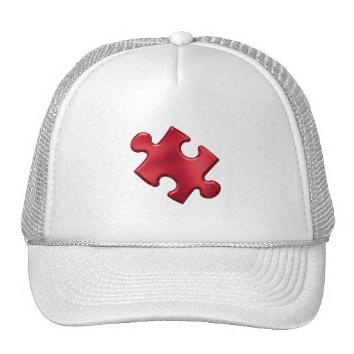Rojo del pedazo del rompecabezas del autismo gorras de camionero