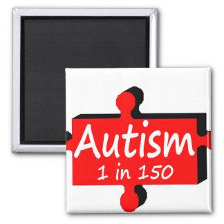 Rojo del pedazo del rompecabezas del autismo imán para frigorifico