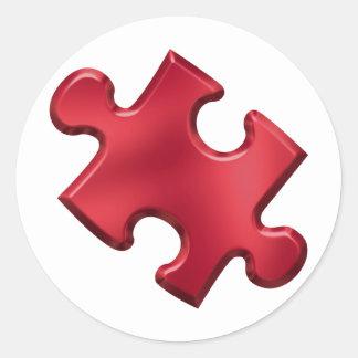 Rojo del pedazo del rompecabezas del autismo pegatina redonda