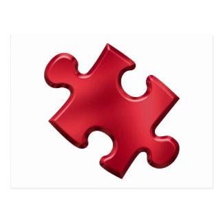 Rojo del pedazo del rompecabezas del autismo tarjetas postales