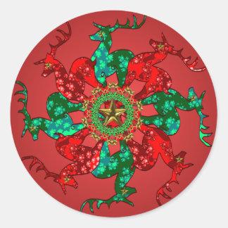 Rojo del pegatina de las estrellas de Santa