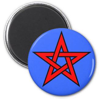 Rojo del Pentagram en azul Imán Para Frigorífico
