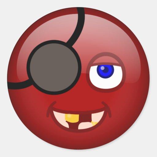 Rojo del pirata etiquetas redondas