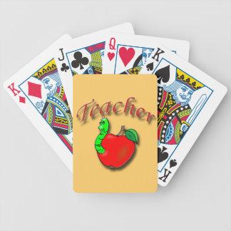 Rojo del profesor baraja de cartas