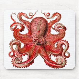 Rojo del pulpo de Haeckel Mousepad