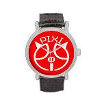 Rojo del reloj del vintage de la firma de Pixipig