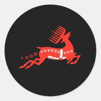 Rojo del reno de Chrismukkah Pegatina Redonda