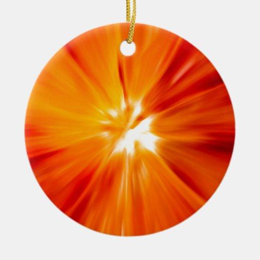 Rojo del resplandor solar y anaranjado originales ornamentos de reyes