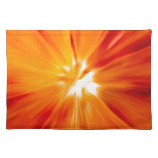 Rojo del resplandor solar y anaranjado originales manteles