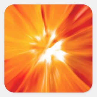 Rojo del resplandor solar y anaranjado originales pegatina cuadrada