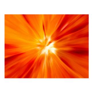 Rojo del resplandor solar y anaranjado originales postales