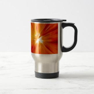 Rojo del resplandor solar y anaranjado originales taza de viaje