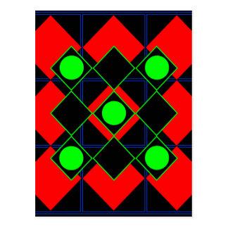 Rojo del Rhombus con las Líneas Verdes y los Postales