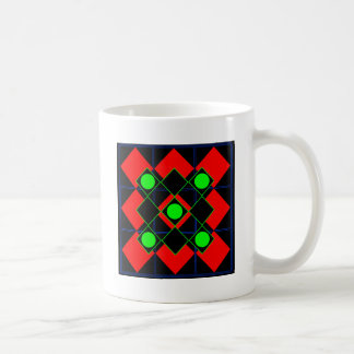 Rojo del Rhombus con las Líneas Verdes y los Taza De Café