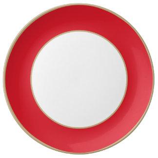 Rojo del Rojo-Rubí de los Rojo-Hibiscos de Plato De Cerámica