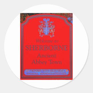 rojo del sherborne pegatina redonda