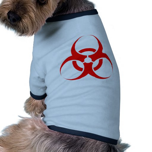 Rojo del símbolo del Biohazard Camisa De Mascota