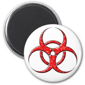 Rojo del símbolo del Biohazard Imán Redondo 5 Cm