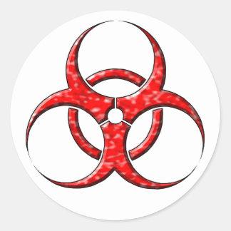 Rojo del símbolo del Biohazard Pegatina Redonda