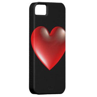 rojo del símbolo del corazón del estilo 3D iPhone 5 Coberturas