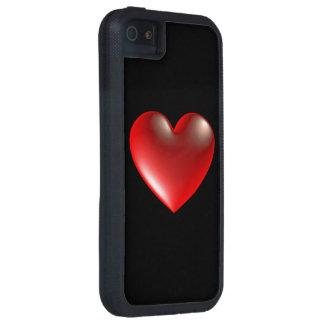 rojo del símbolo del corazón del estilo 3D iPhone 5 Case-Mate Cárcasa